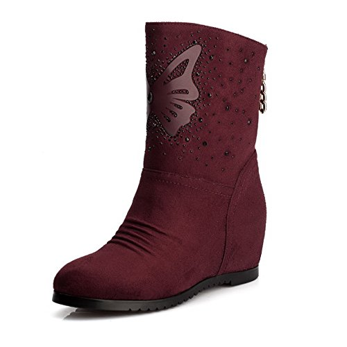 AmoonyFashion Womens Round Toe Closed Toe Kitten-Heels Boots With Ruched Claret