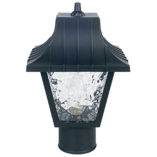Sunset Lighting F4380-31 Outdoor Post Mount with Clear Flemish Panels Shades, Black Finish (Post Outdoor Lantern Set)