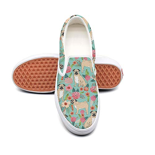 seventtynine Pet Dog Pugs and Beautiful Florals Classic Women's Canvas Slip-On Shoes Sneaker for $<!--$43.85-->