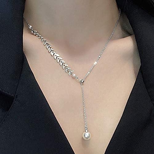 Collar de acero de titanio collar de oreja de trigo joyería femenina colgante de perlas clavícula cadena femenina