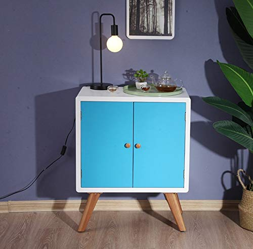 寝室のベッドサイドテーブルブルーシンプルなファッションベッドサイドテーブル引き出しキャビネット収納キャビネットベッドサイドキャビネット B07QG4VCNL