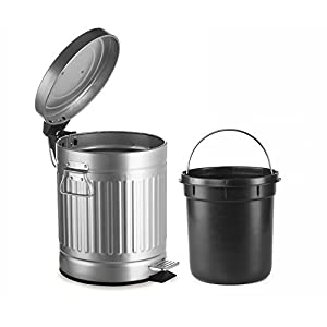 AMG Round Waste Bin in Galvanized Steel, 5L Garbage Trash Can with Step Foot Pedal, by and Enchante Accessories, WB07V GAL