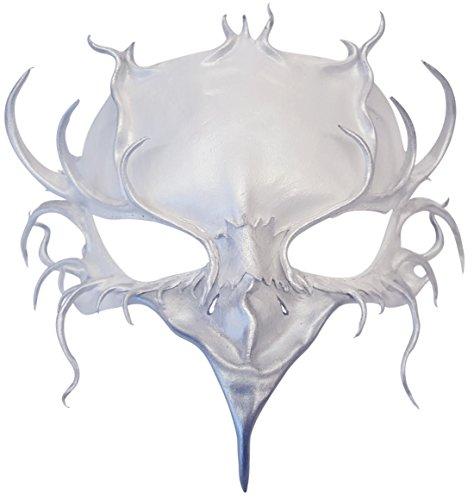 - Night Bird Handmade Leather Masquerade Art Mask (White Silver)