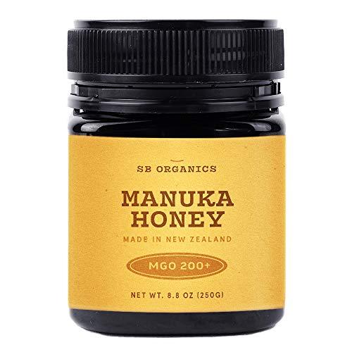 SB Organics MGO 200+ Raw Manuka Honey - Authentic Medicinal Grade Premium Certified New Zealand Honey - Non-GMO, Halal, Additive-Free, Quality Honey - 8.8 Ounces