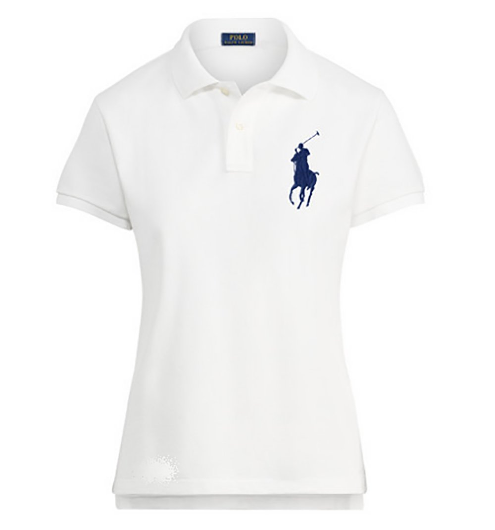 Ralph Lauren Women's Big Pony Mesh Polo Shirt (Medium, White/Newport Navy Pony)