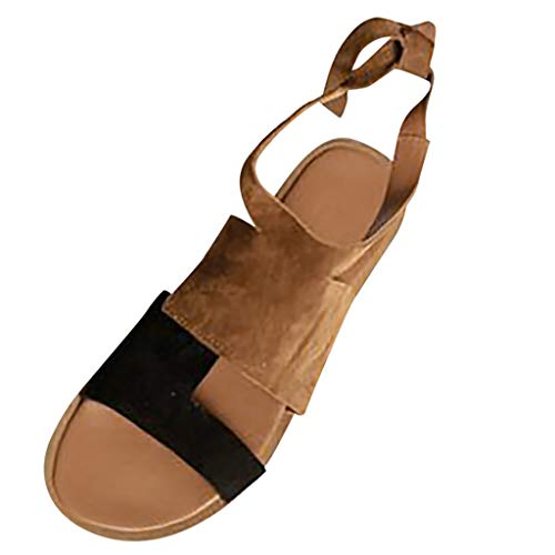 - Answerl 2019 Open Toe Lace Up Ankle Wrap Summer Casual Flat Sandals Shoes for Women Brown
