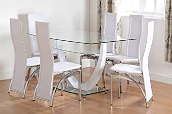 Henley 6 Seater Dining Set In Clear Glass/White/Faux Leather