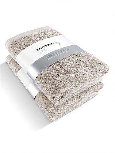 herzbach home Luxus Handtuch Duschtuch 2er-Set Premium Qualität aus 100% ägyptischer Baumwolle 70 x 140 cm 600 g/m² (sandgrau)