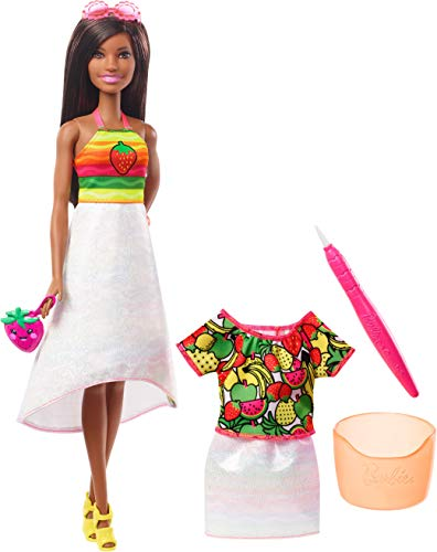 (Barbie Crayola Rainbow Fruit Surprise Doll and Fashions, Dark Hair)