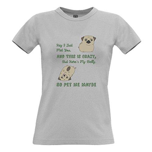 Hey ho appena incontrato È Cute Dog Handdrawn divertente Slogan Love Logo Nerd T-Shirt Da Donna