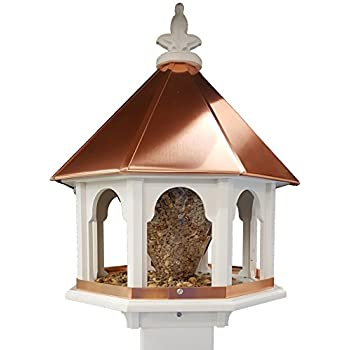 Octagon Wild Bird Feeder Solid Cellular PVC Clear Copper Roof Made In The  USA