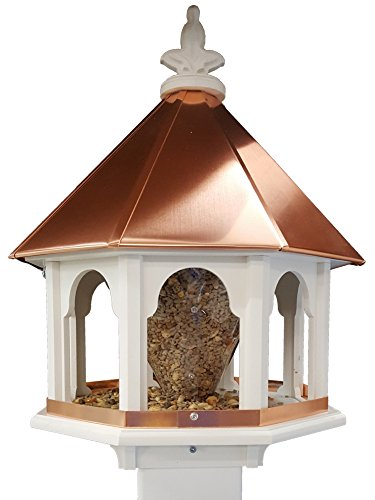 NC Birdguy Octagon Wild Bird Feeder Solid Cellular PVC Clear Copper Roof Made In the USA (Solid Roof)