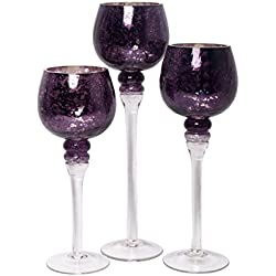 "Hosley Set of 3 Crackle Purple Glass Tealight Holders (9"", 10"", 12"" High). Ideal Gift for Weddings, Special Events, Parties. Also Makes a Great Gift. O3"