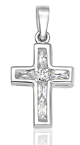 Women's Sterling Silver .925 Original Design Cross Pendant/Slider with 5 Channel-Set Baguette Cubic Zirconia (CZ) Stones, High Polish.