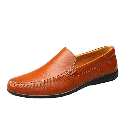 Insun Mens Leather Slip On Loafers Boat Shoes Driving Tan iOfBZu5tqy