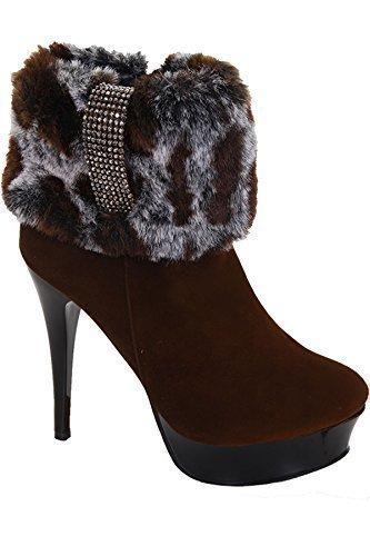 Boutique Estampado Plataforma Botas mujer Leopardo Mujer Sapphire adorno Pelo de Alto De Marrón Ante charol Sapphire ZAFIRO by Tacón dpdA1