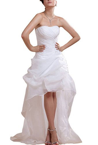 - Angel Formal Dresses Women's Strapless High Low Applique Wedding Dresses(12,white)