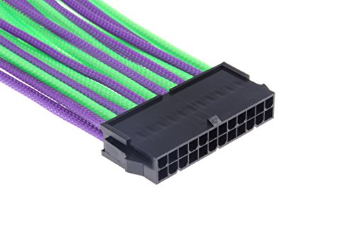 LM YN 24-Pin Motherboard Power Supply Extension Cable UL1007 /18AWG Purple-green by LM YN (Image #2)