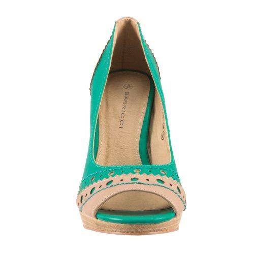 Barricci , Escarpins pour femme - Vert - green-beige, 40