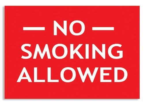 RED No Smoking Allowed Sticker (Business Window decal)