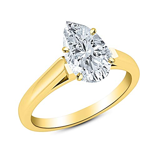 - 0.5 1/2 Ct Pear Cut Cathedral Solitaire Diamond Engagement Ring 14K Yellow Gold (I Color VS2 Clarity)