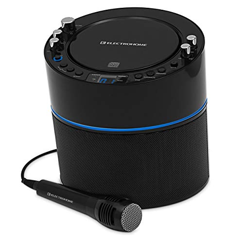 (Electrohome Karaoke Machine Speaker System CD+G Player with 2 Microphone Connections, Singing Music & AUX Input for Smartphone, Tablet, MP3 Players)