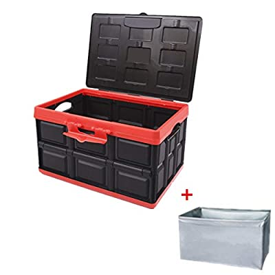 Yafeco 55L Collapsible Car Trunk Storage Box Undeformed Plastic Odorless Car Trunk Organizer Reusable Folding Moving Box Perfect for Home,SUV, Family Vans, Travel and Camp/with Waterproof Bag, Lid: Home Improvement