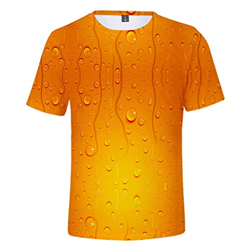 Togethor Mens Top Blouse Casual Summer Beer Festival 3D Printing O-Neck Short Sleeve Tees Cool T-Shirts Orange