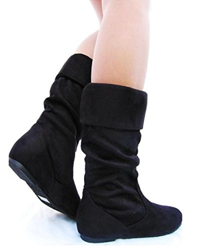 Joyln-9 Womens Slouchy Microsuede Pull Up Short Booties Black