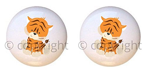 (SET OF 2 KNOBS - Tiger - Baby Safari Animals - DECORATIVE Glossy CERAMIC Cupboard Cabinet PULLS Dresser Drawer KNOBS)