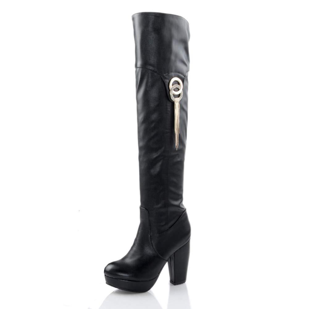 HOESCZS große größe 32-43 Mode Retro Frauen Schuhe Frau Stiefel über Knie Stiefel Beste qualität plattform PU Leder high Heel Schuhe,