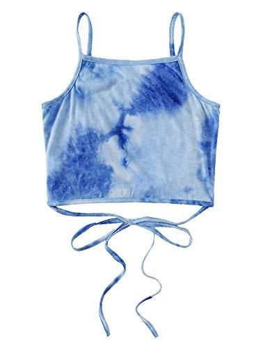 Tie Dye Camisole - SweatyRocks Women's Sexy Spaghetti Strap Crop Top Criss Cross Tie Dye Camisole Tank Multi X-Large