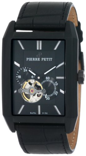 Pierre Petit Men's P-781A Serie Paris Automatic Skeleton Black PVD Rectangular Leather Watch