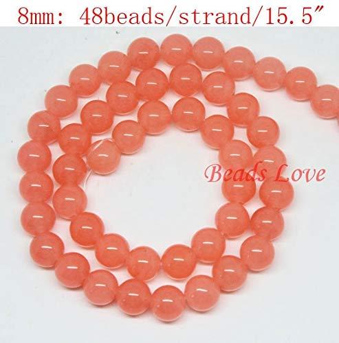 Calvas Hot Sale 4,6,8,10,12mm Light Salmon Jades Round Loose Stone Beads AAA+ 15.5