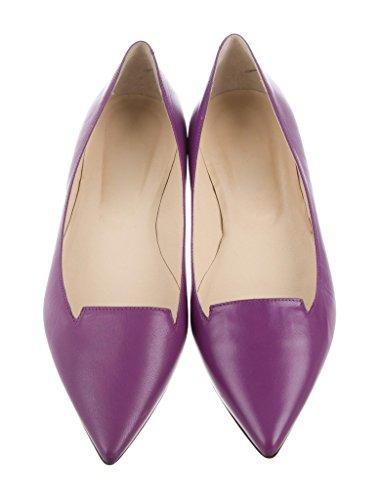 EDEFS Damen Ballerinas Slipper Flats Geschlossene Ballerinas Spitz Zehe Schuhe Violett