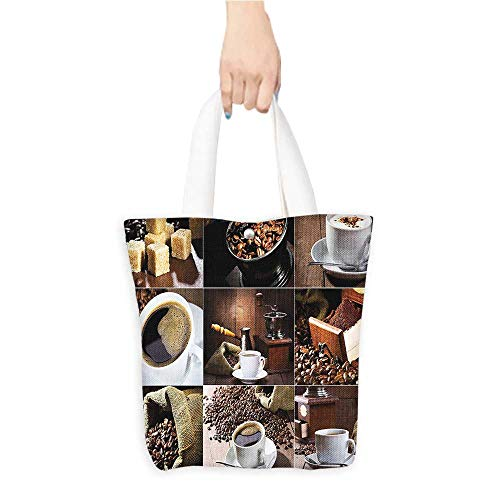 Eco-Friendly Canvas bagsPhotos fee Mugs Roasted Bags Gr der Sugarcub Collage Brown White Easy to all-match W16.5 x H14 x D7 INCH