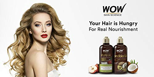 WOW Apple Cider Vinegar Shampoo & Hair Conditioner Set - Increase Gloss, Hydration, Shine - Reduce Dandruff & Frizz - No Parabens or Sulfates - For All Hair Types, Adults & Children - 500 mL