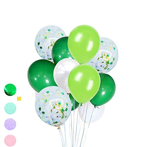 FUNPRT White Green Latex Balloon and Confetti Balloons 48 Count Dinosaur Jungle Party Decoration -