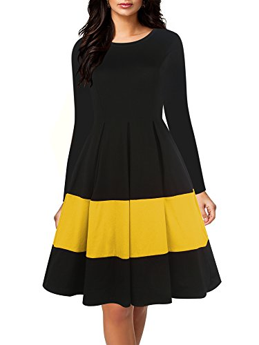 oxiuly Women's Vintage Long Sleeve Round Neck Contrast Casual Pockets Party Wedding Evening Swing Dress OX253 (L, Yellow Long) - Holiday Party Suits Dresses