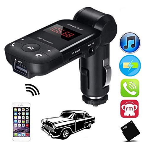 (HsgbvictS FM Transmitter Car Video Players & Accessories Adapter Car Bluetooth Adapter Hands Free FM Transmitter MP3 Music Player USB Charger - Black)