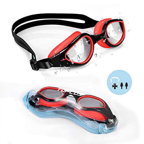 TOPLUS Swim Goggles, Goggles No Leaking Anti Fog UV Protection Swimming Goggles Triathlon for Men Women Youth Kids Child, with Mirrored & Waterproof, UV Protection Clear Lenses - Black & ()