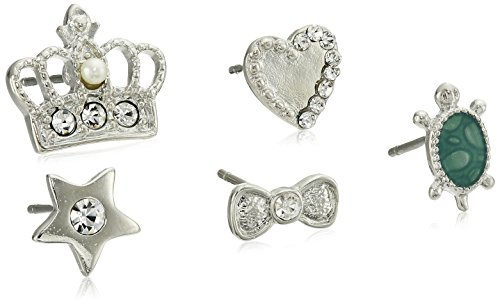 Betsey Johnson Pave Crown Five Stud Earrings (Betsey Johnson Crown Ring)