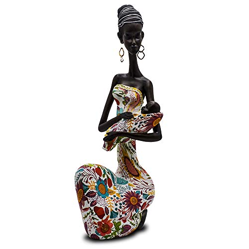 Statue African Figurine Sculpture Colorful Dress Holding Baby Lady Figurine Statue Decor Collectible Art Piece 15.5