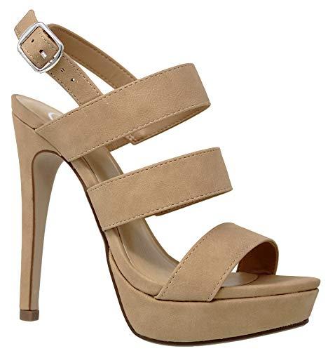 - MVE Shoes Women's Strappy Peep Toe Platform - High Heel Stiletto Pumps - Slingback Cute Sandals, NAT nbpu Size 11