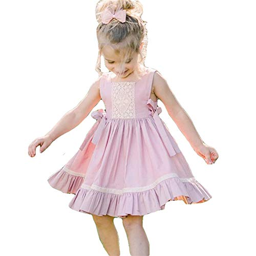 Toddler Girl Solid Cotton Casual Summer Sleeveless Bow Dress