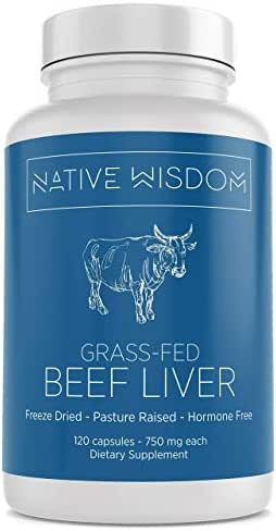 Native Wisdom Grass Fed Beef Liver Capsules, New Zealand Pasture Raised and Finished, 3000 mg Serving, 30 Day Supply