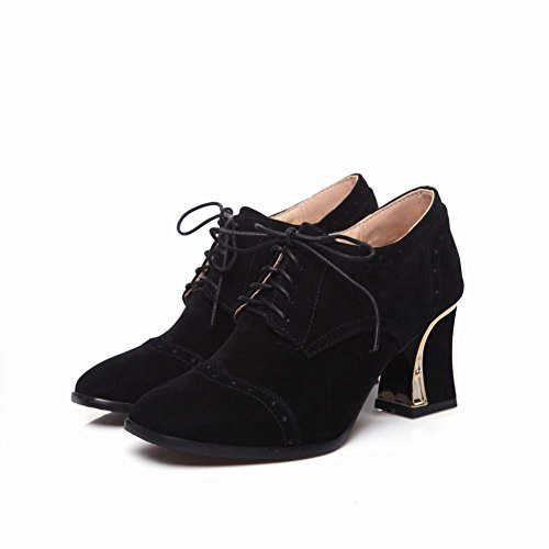 Mee Shoes Damen high heels vierkant einfarbig ankle Boots Schwarz