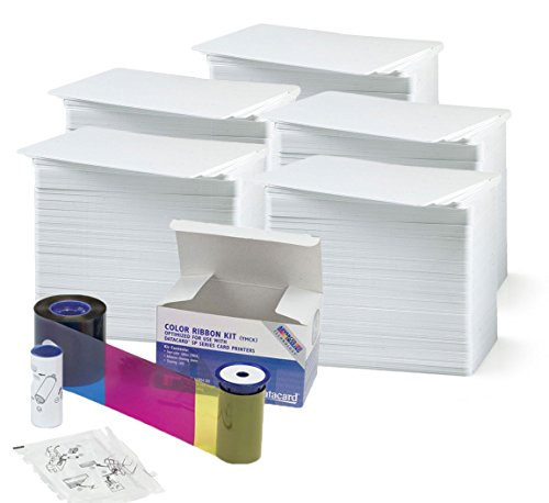 Datacard 534000-003 Color Ribbon & Cleaning Kit - YMCKT - 500 prints with badgeDesigner Premium CR80 30 Mil Graphic Quality PVC Cards - Qty 500 - Data Card Ribbon
