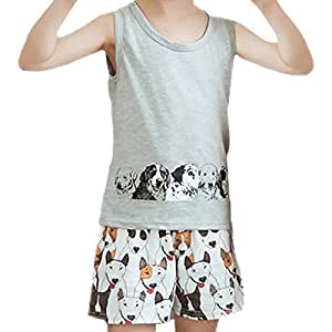 Boys Tracksuits Set Summer Cute Baby Girl Outfit Children Toddler Cartoon Printing Shorts Sleeveless Vest Kit