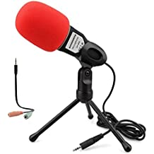 Condenser Microphone,SOONHUA 3.5mm Plug&Play Home Stereo MIC With Desktop Tripod for YouTube Video Skype Chatting Gaming Podcast Recording for PC Laptop IOS Android Phone Tablets